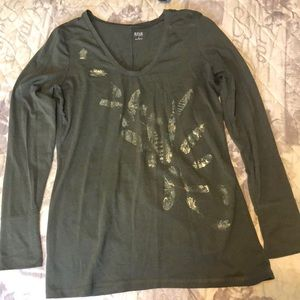 Olive green long sleeve top, feather detail Size S